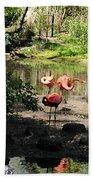 Three Flamingos Beach Towel