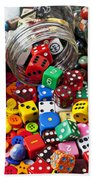 Three Jars Of Buttons Dice And Marbles Beach Sheet