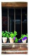 Time Worn Window With Bright Flowers Beach Towel