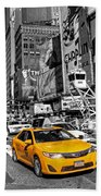 Times Square Taxi  Beach Towel
