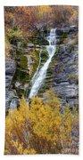 Timpanogos Waterfall In The Fall - Utah Beach Towel