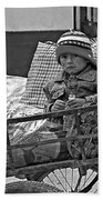 Tiny Biker 2 Monochrome Beach Towel