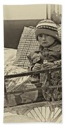 Tiny Biker 2 Sepia Beach Towel