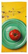Tomato On Green Plate Beach Sheet