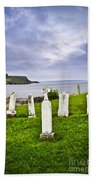 Tombstones Near Atlantic Coast In Newfoundland Beach Towel by Elena Elisseeva