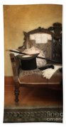Top Hat And Cane On Sofa Beach Towel