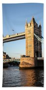 Tower Bridge And Helicopter Beach Towel
