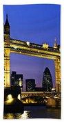 Tower Bridge In London At Night Beach Towel