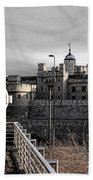 Tower Of London With Tube Sign Beach Towel