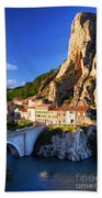 Town Of Sisteron In Provence France Beach Towel