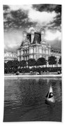 Toy Boating In A Parisian Park Bw Beach Towel