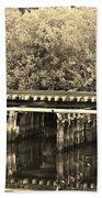 Track On The River In Sepia Beach Towel
