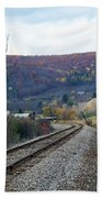 Tracks In The Valley Beach Towel