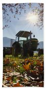 Tractor In Backlight Beach Towel