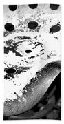 Tractor Seat Close Up Black And White Beach Towel