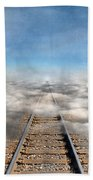 Train Tracks Into The Clouds Beach Towel