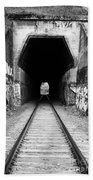 Train Tunnel At The Muir Trestle In Martinez California . 7d10235 . Black And White Beach Towel