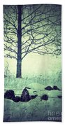 Tree And Fence In The Fog And Snow Beach Towel