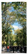 Trees On The Mall In Central Park Beach Towel