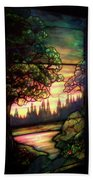 Trees Stained Glass Window Beach Towel