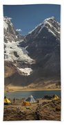 Trekkers Camp Near Carhuacocha Lake Beach Towel