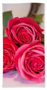 Trio Of Pink Roses Beach Towel
