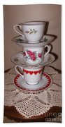 Trio Of Valentine Tea Cups  Beach Towel
