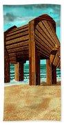 Trojan Cow Beach Towel by Russell Kightley