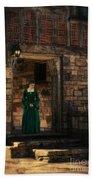 Tudor Lady In Doorway Beach Towel