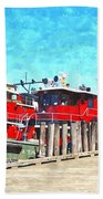 Tugboat Twc Beach Towel