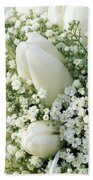 Tulip Tulipa Sp And Babys Breath Beach Towel