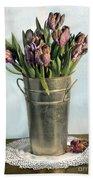 Tulips In Metal Vase Beach Towel