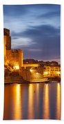 Twilight In Collioure Beach Towel by Brian Jannsen
