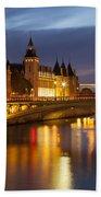 Twilight Over River Seine And Conciergerie Beach Towel