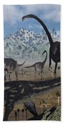 Two Allosaurus Predators Plan Beach Towel
