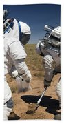 Two Astronauts Collect Soil Samples Beach Towel by Stocktrek Images