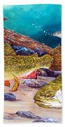 Two Brook Trout Beach Towel