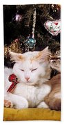 Two Cats At Christmas Beach Towel