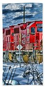 Two Cp Rail Engines Hdr Beach Towel