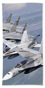 Two Fa-18 Hornets And Two F-15 Strike Beach Towel