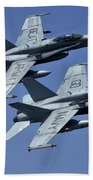 Two Fa-18c Hornets In Flight Beach Towel