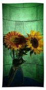 Two Flowers On Texture Beach Towel