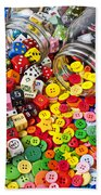 Two Jars Dice And Buttons Beach Towel