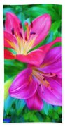 Two Lily Flowers Beach Towel