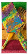 Two Paintbrushes On Paint Rollers Beach Towel