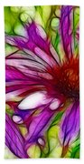 Two Purple Daisy's Fractal Beach Towel