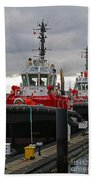 Two Red Tugs Beach Towel