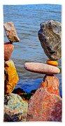 Two Stacks Of Balanced Rocks Beach Towel