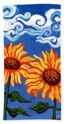 Two Sunflowers Beach Towel by Genevieve Esson