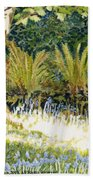 Sunlit Bluebells Llanina Ceredigion Beach Towel
